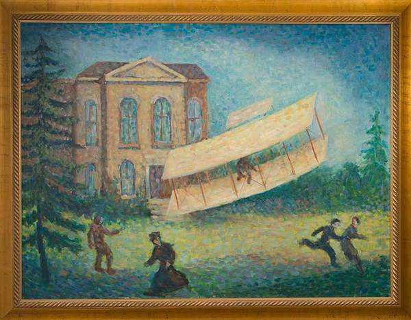 Painting depicting a glider experiment by professor Albert Francis Zahm. The painting which once hung in LaFortune Student Center now hangs in the Hessert Aerospace research building.