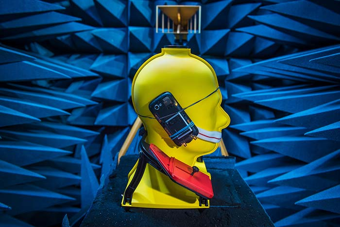 ND Wireless Institute research: A human head model is tested in an anechoic chamber to measure absorption of radiation from cell phone antennae.