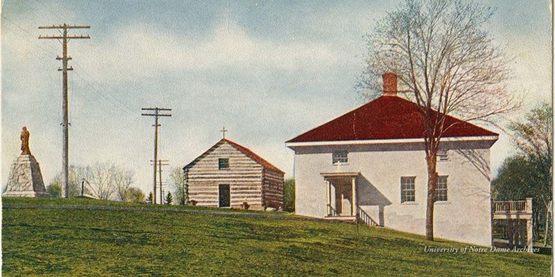 Color postcard of the Founder's Monument, Log Chapel, and Old College, with telephone wires and poles, based on a photograph found in GNDL 6/13, c1906.