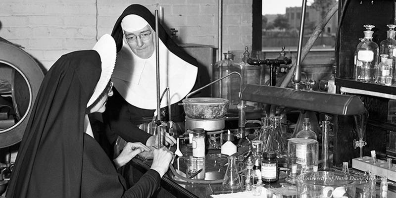 Two nuns in a science laboratory during summer school at the University of Notre Dame, c1950.