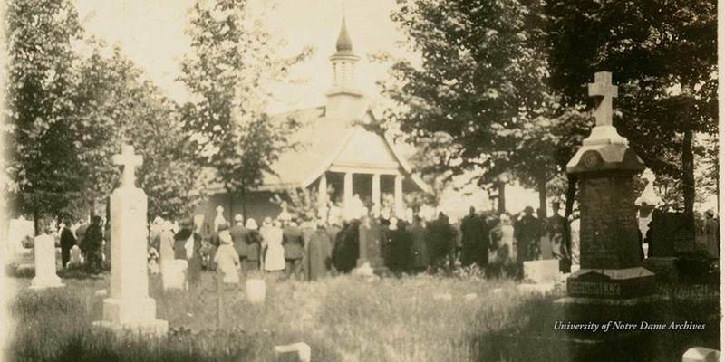 Mass outside All Souls Chapel at Cedar Grove Cemetery, c1920s.