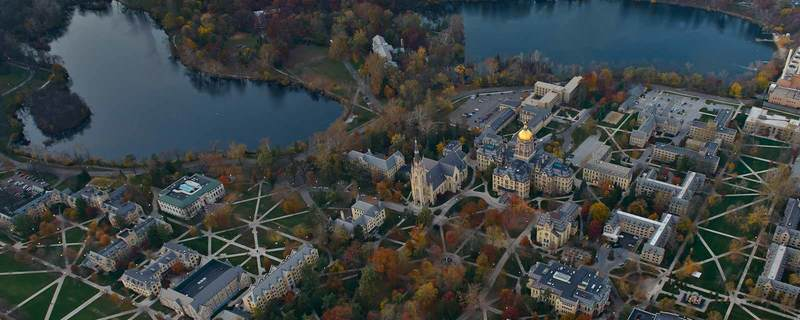 Aerial view of Notre Dame campus.