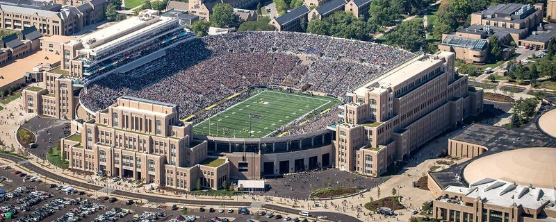 Notre Dame Stadium on a game day.